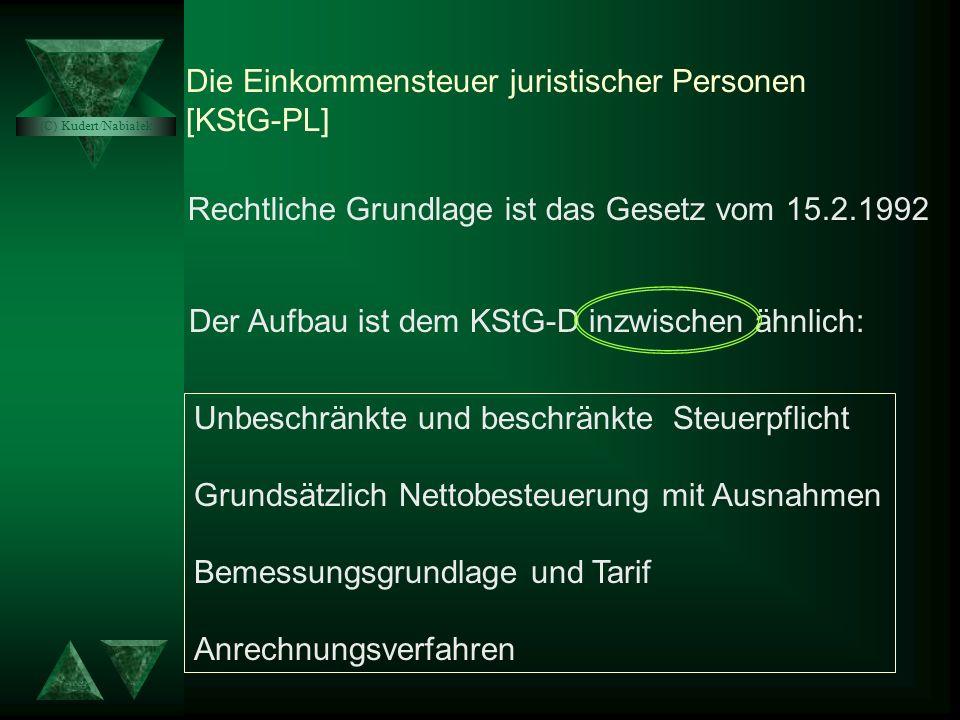 Die Einkommensteuer juristischer Personen [KStG-PL]